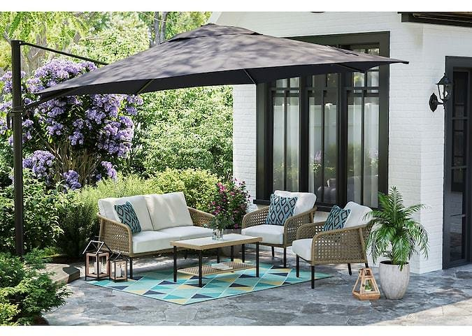 Style Selections Whitehaven 4-Piece Metal Frame Patio Conversation Set with Cushions