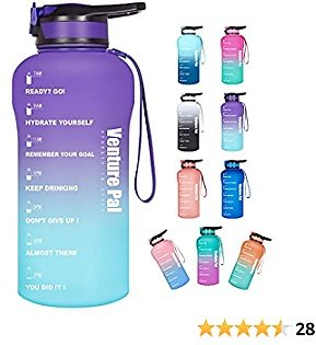 Venture Pal Motivational Water Bottle with Time Marker - Large Half Gallon/64oz Water Bottle with Straw Lid to Ensure You Drink Enough Water Throughout The Day