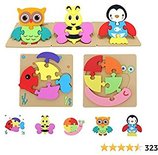Toddler Toys for 3 Year Old Boys Girls,Toddler Puzzles Toy Gifts for Ages 3, Washable Non-Wooden Puzzles with 5 Patterns, Baby Learning Educational Toys (5 Pack)