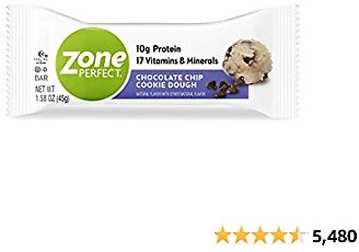 ZonePerfect Protein Bars, Chocolate Chip Cookie Dough, 10g of Protein, Nutrition Bars With Vitamins & Minerals, 30 Bars