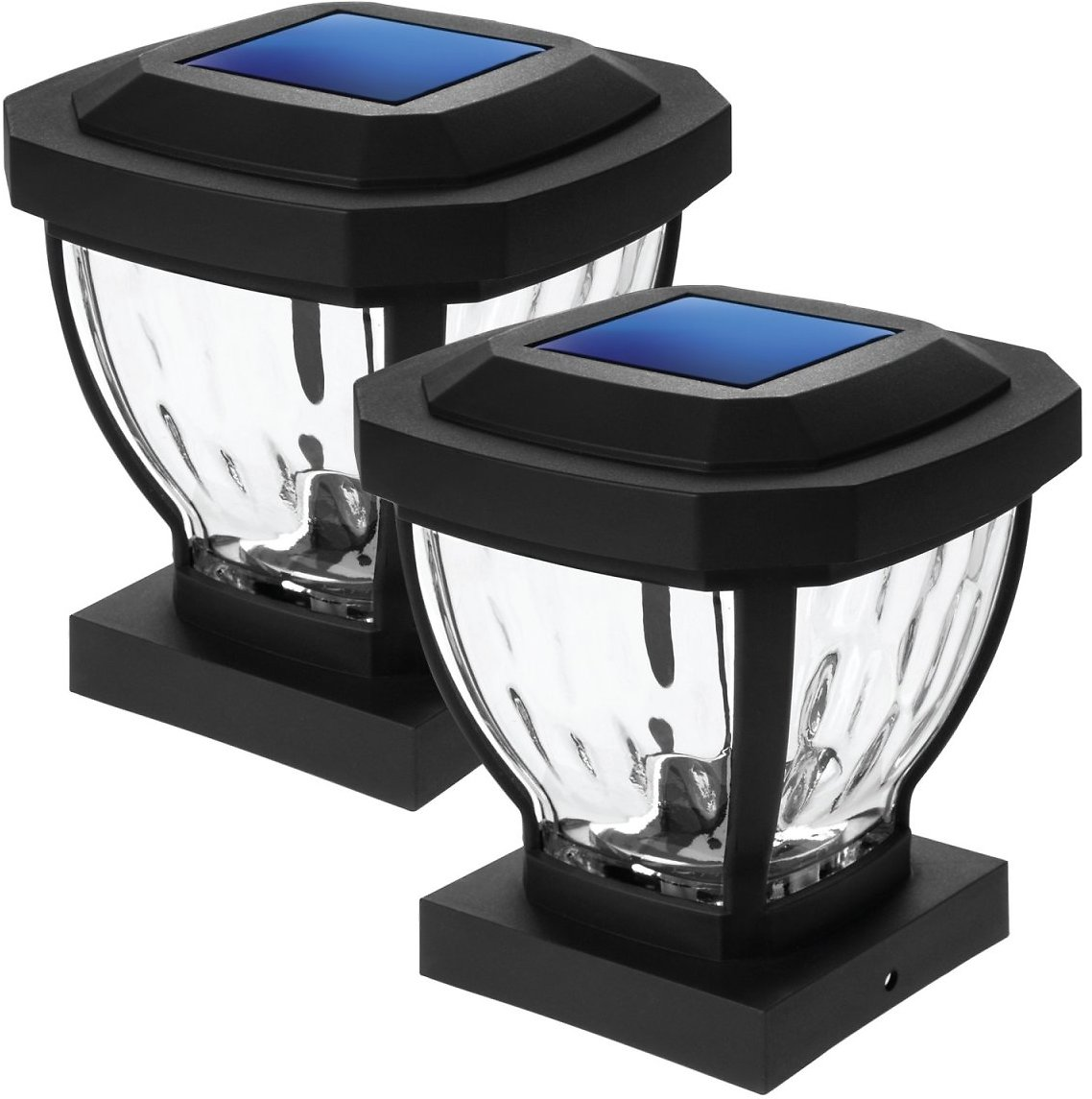 Home Zone Security Black Outdoor Solar Decorative Glass 4x4 Post Cap LED Light for Deck, Patio, Yard, Fence, & Walkway No Wiring