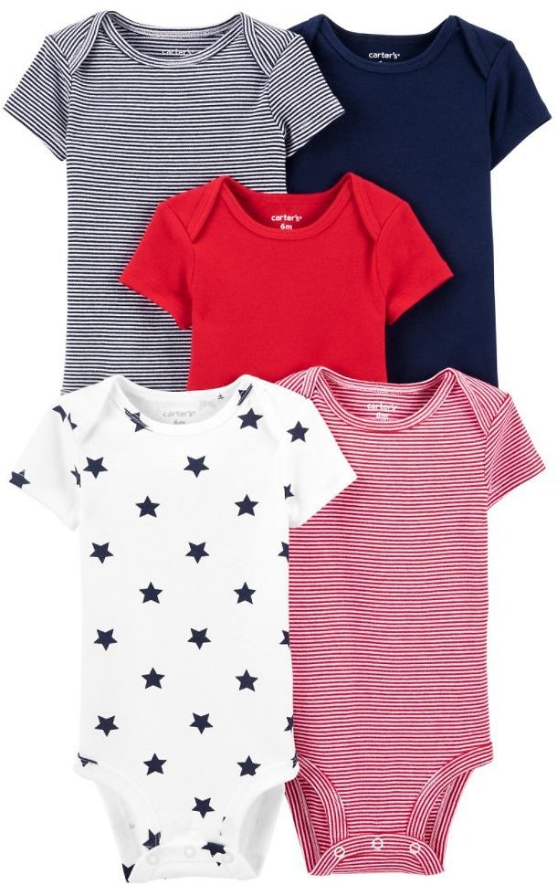 5-Pack Short-Sleeve Baby Bodysuits (2 Choices)