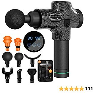 Trace Kasa Massage Gun, Massage Gun Deep Tissue Percussion for Athletes Handheld Back Percussion Massager for Pain Relief 30 Speeds Portable Electric Body Muscle Massager Cordless with 8 Massage Heads