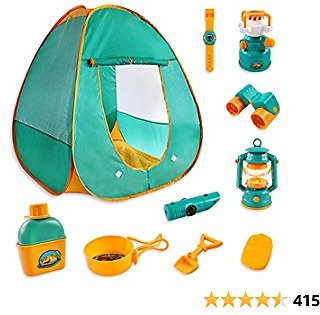 Kids Camping Play Tent Gear Set with Pretend Equipment Tool Indoor Outdoor Toys for Toddlers