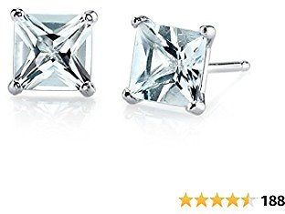 Peora 14K Gold Classic Solitaire Stud Earrings, Princess Cut, 6mm in Genuine or Created Gemstones, Friction Back
