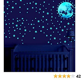 Glow in The Dark Stars for Ceiling, 167pcs Luminous Dots Stars and Moon Wall Stickers for Kids, Adhesive Ceiling Stickers for Kids Children Bedroom Birthday Party Wall Decals (Sky Blue)