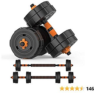 BOSWELL Adjustable Weights Barbell Dumbbells Set, Weights Dumbbells Non-Slip Neoprene Hand Weights with Connecting Rod for Adults Women Men Fitness,Home Gym Exercise Training Equipment