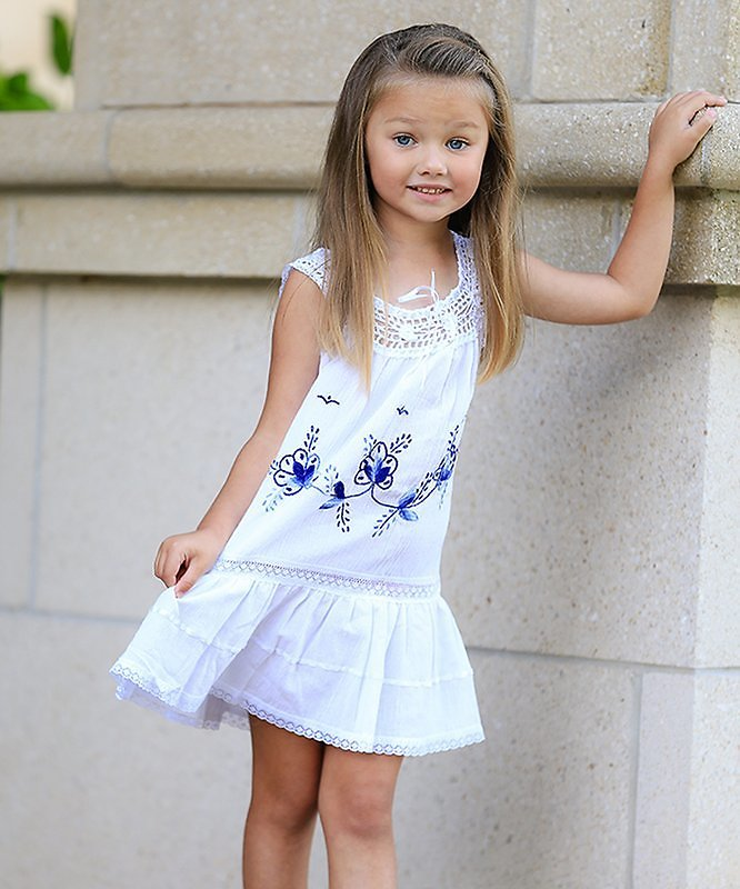 White Floral Embroidered Crochet-Accent Helena Peasant Dress - Infant, Toddler & Girls