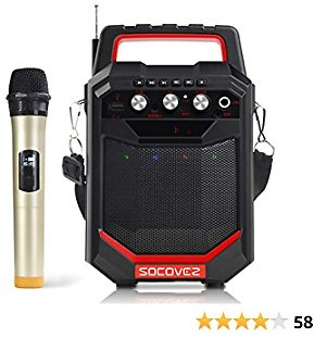 SOCOVEZ Portable Karaoke Machine Speaker with Microphone, Bluetooth Speaker with Audio Recording, Remote Control, Have 2MIC/TF/USB/AUX Ports,Karaoke Machine for Adults