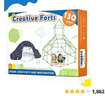 Kids-Fort-Building-Kits-130 Pieces-Creative Fort Toy for 5,6,7 Years Old Boy & Girls- Learning Toys DIY Building Castles Tunnels Play Tent Rocket Tower Indoor & Outdoor