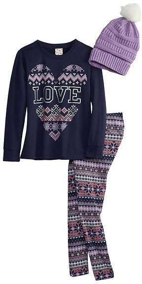 Belle Du Jour Girls 7-16 French Terry Top, Legging, and Crocheted Beanie Set
