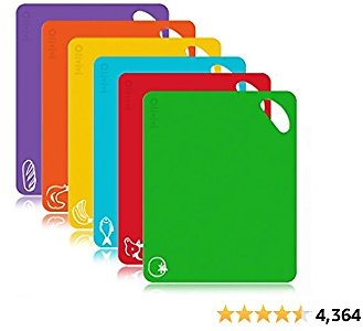 Extra Thick Flexible Plastic Kitchen Cutting Board Mats Set, Set of 6 Colored Chopping Board With Food Icons & Easy-Grip Handles By Olivivi