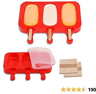 TOTEDELL Flat Silicone Popsicle Molds for Kids BPA-Free, DIY Ice Pop Molds with Lids Packs of 2, 3 Cavities Ice Cream Popsicle Maker Easy Release, with 100 Popsicle Sticks (RED)