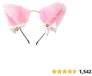 Fxaelian Anime Cute Fox Wolf Cat Dog Ears Headband with Bows Bells Halloween Cosplay Costume Party Headpiece Hair Accessories Hairband Headwear for Adult Kids Pink