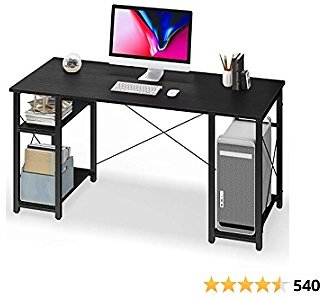 Computer Desk with Storage Shelves 55 Inch Home Office Desk with CPU Stand, Study Writing Desk Workstation for Small Space, Black