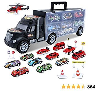 HAENPLE Toddler Toys for 3-5 Year Old Boys,Cars Truck Toys Transport Carrier Set,Die-cast Vehicles Includes 12 Mini Toy Cars for Age 3-7 Boy Kids