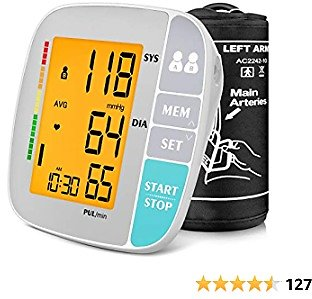 A ANJOCARE Blood Pressure Monitor, Automatic Upper Arm BP Machine, Digital Accurate Blood Pressure Cuffs Kit for Home Use, Pulse Rate Monitoring Meter, Extra Large Cuff, Large Display, 500 Sets Memory