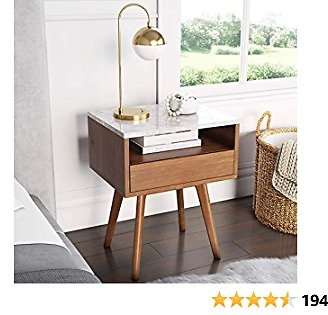 Nathan James James Mid-Century Rectangle Accent Side or End Table Walnut Finish Wood and Faux Marble Top with Storage Nightstand, Frame, White/Brown
