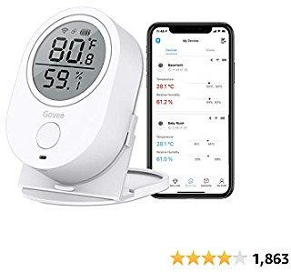 Govee WiFi Temperature Humidity Monitor, Wireless Digital Indoor Hygrometer Thermometer with App Alerts, Temperature Sensor Humidity Gauge for Home Pet Garage Cropper Greenhouse(Don't Support 5G WiFi)
