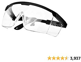 PETLESO Safety Glasses, Anti Fog Safety Goggles Wraparound Goggles Eye Protection, Scratch Resistant Protective Eyewear for Work Lab, Black