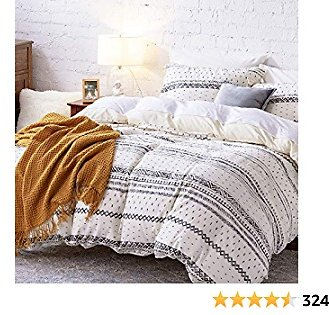 Bedsure 80% Cotton 20% Linen Duvet Cover Set, Washed Cotton Queen Comforter Cover, 3 Pieces Breathable Lightweight Geometric Duvet Cover Sets (Full/Queen, 90x90 Inches, White/Black)