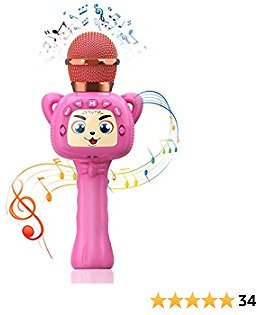 Homily Karaoke Wireless Microphone for Kids Magic Sound Function Portable Bluetooth Microphone Handheld Microphone Speaker Birthday Gift Toys for Kids and Adults Home Party (Pink)