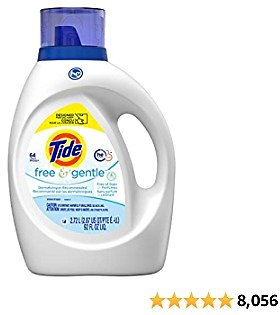 Tide Free and Gentle Liquid Laundry Detergent Soap, HE, 64 Loads - Unscented and Hypoallergenic for Sensitive Skin, Free and Clear of Dyes and Perfumes