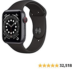 New Apple Watch Series 6 (GPS + Cellular, 44mm) - Space Gray Aluminum Case with Black Sport Band