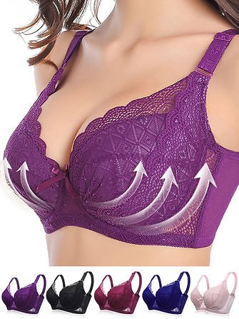 F Cup Plus Size Full Cup Push Up Gather Thin Bra