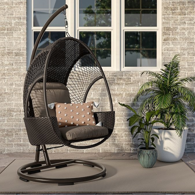 Allen + Roth Wicker Hanging Chair (2 Colors)