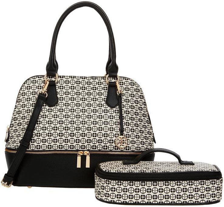 Exclusive! IMAN Global Chic Logo Print Dome Satchel with Cosmetic Case