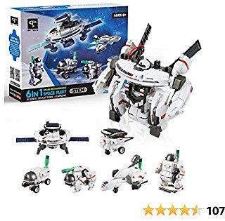 STEM Toys 7-in-1 Solar Robot Kits Space Toys DIY Building Set Science Experiment Kit Engineer Building Activities for Kids Learning & Education Toys Powered By The Sun (200 Pieces)
