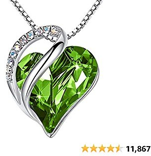 Leafael Infinity Love Heart Pendant Necklace with Birthstone Crystals Jewelry