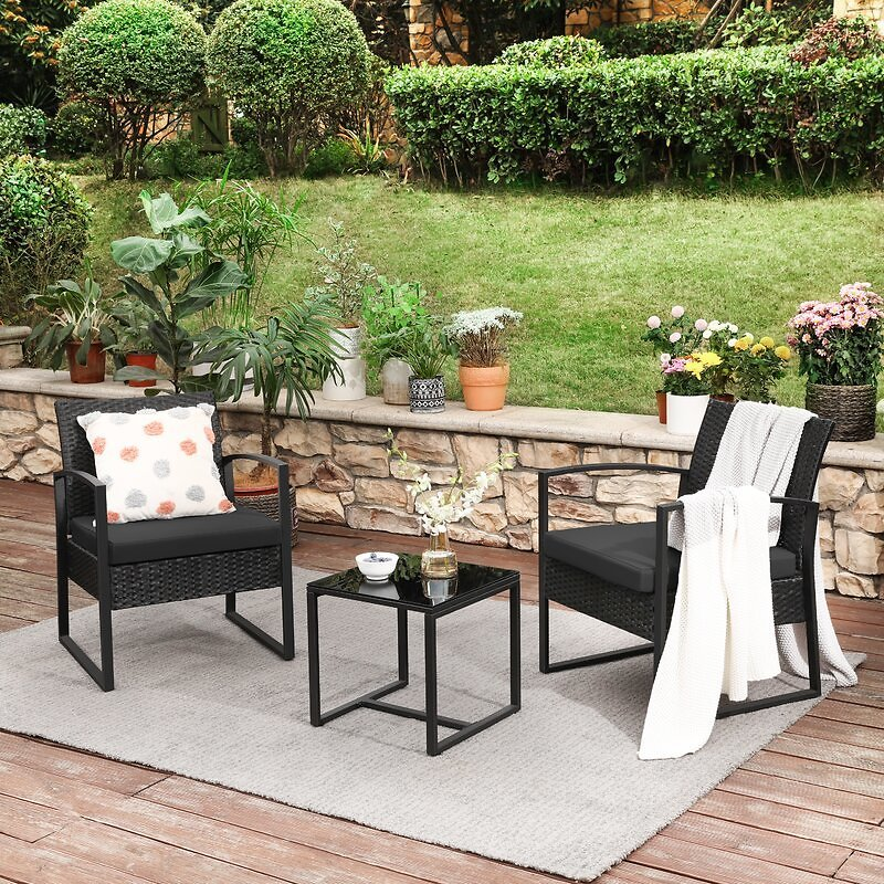 3-Piece Patio Set Outdoor Patio Furniture Sets, PE Rattan, Outdoor Seating For Bistro Front Porch Balcony, Easy To Assemble, 2 Chairs And 1 Table, Black And Lake Blue