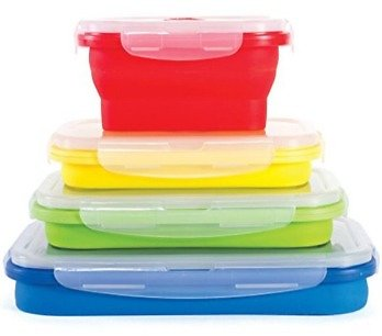Thin Bins Collapsible Containers Set of 4 Rectangle Silicone Food Storage Containers BPA Free, Microwave, Dishwasher Safe