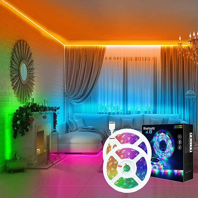 LED Strip Lights Music Sync 2x7.5M 50ft Colour Changing 5050 RGB LED Light Strips Starry Sky Projector Light Dream Cloud