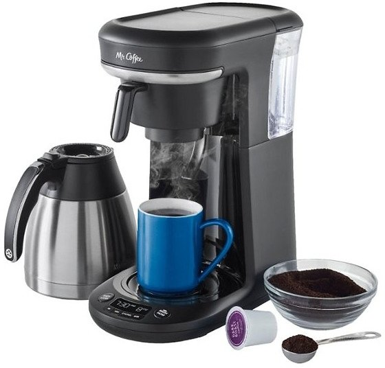 Mr. Coffee Space-Saving Combo 10-Cup Coffee Maker and Pod Single Serve Brewer Stainless-Steel/Black 2121469