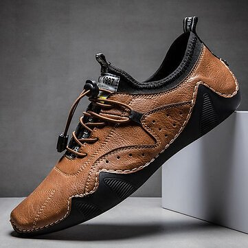 Men Hand Stitching Microrfiber Leather Breathable Non Slip Soft Casual Driving Shoes