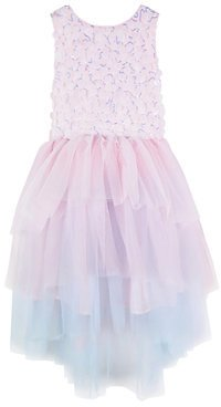 Big Girls Sleeveless Sequins Bodice Mesh and High Low Dress For $29.60