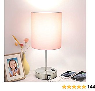 Touch Control Table Lamp, 3 Way Dimmable Modern USB Desk Lamp with 2 Fast Charging Ports and AC Outlet, Bedside Nightstand Lamp for Bedroom, Living Room, Office, ST64 6W 4000K LED Bulb Included