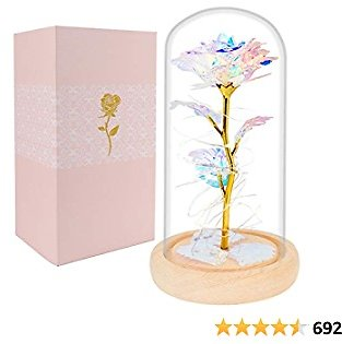 Beferr Beauty and The Beast Rose Enchanted Flower with LED Light in Glass Dome for Christmas Valentine's Day Mother's Day Birthday Best Gifts for Girlfriend Wife Women Her - Colorful