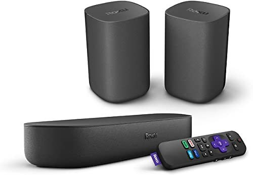 Roku Streambar, 4K/HD/HDR Streaming Media Player & Premium Audio All in One, Includes Roku Voice Remote, Released 2020 + Roku Wireless Speakers