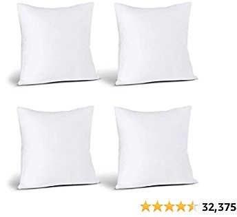 Utopia Bedding Throw Pillows Insert (Pack of 4, White) - 18 X 18 Inches Bed and Couch Pillows - Indoor Decorative Pillows