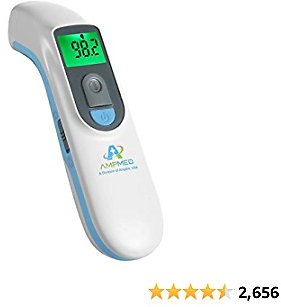 Amplim Hospital Medical Grade Noncontact Clinical Digital Infrared Forehead Thermometer for Babies, Kids, and Adults, FSA HSA Approved, 1701AE1, Blue White