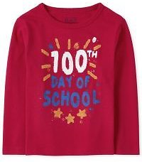 Baby And Toddler Boys Long Sleeve '100th Day Of School' Graphic Tee