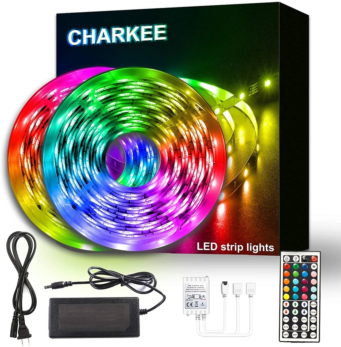 Charkee Led Lights for Bedroom 50ft, 2 Rolls of 25ft Led Light Strips with Remote and Power Supply for Bedroom, Room, Kitchen, Decoration