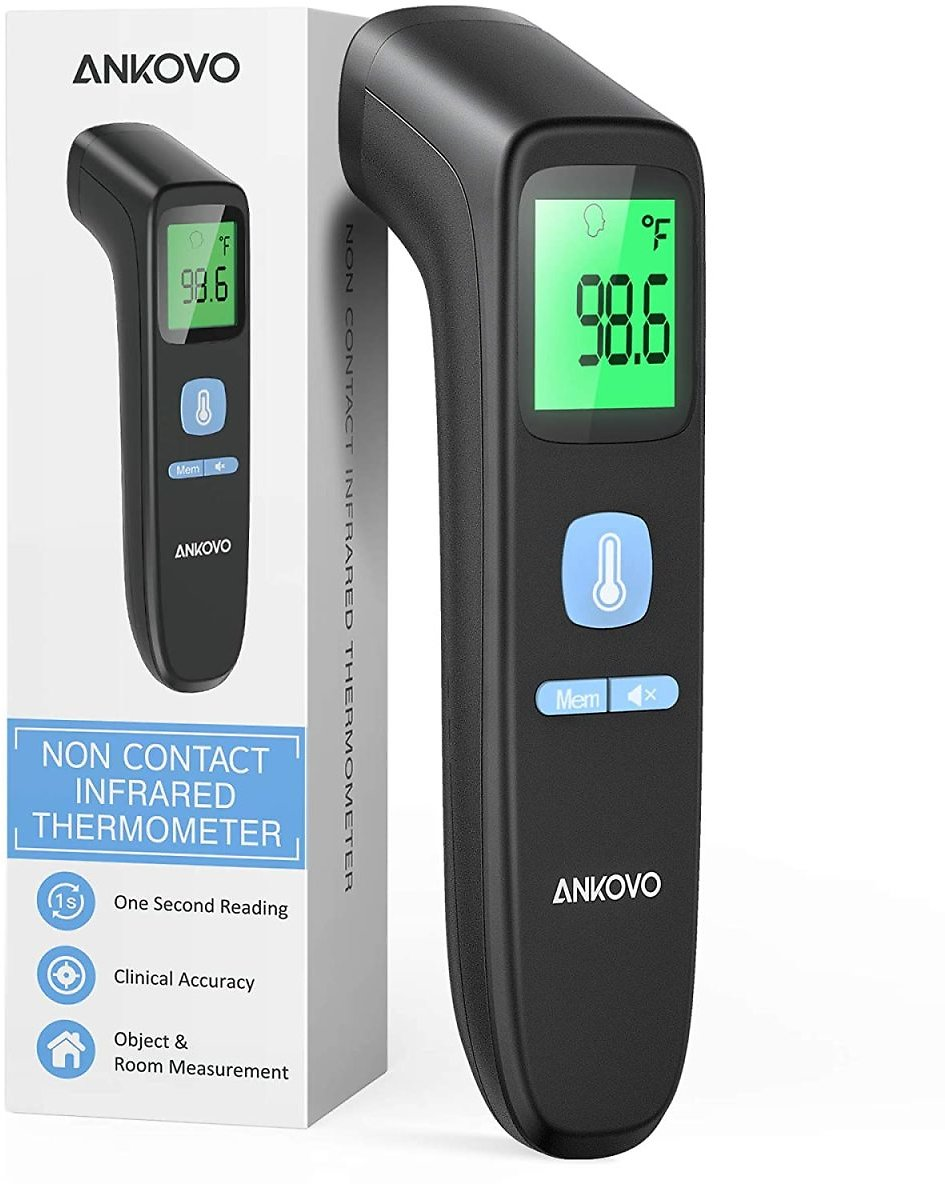 ANKOVO Touchless Thermometer for Adults, Non Contact Forehead Thermometer for Fever, Digital Infrared Thermometer with Fever Alarm and Sound Switch, Suitable for Adults, Kids and Baby