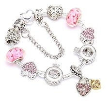 87% OFF Enuine Murano And Crystal Heart Charm Bracelet