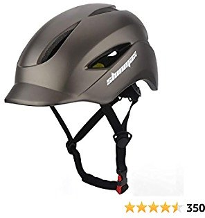 Shinmax Adult Bike Helmet, Bicycle Helmet with Led Rear Light + Cap Style Visor + Portable Carry Backpack for Urban Commuter Cycling Lightweight Adjustable Size for Men & Women