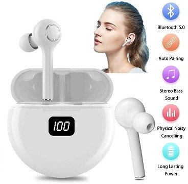 Bluetooth Earbuds with Microphone-Bluetooth In-Ear Earphones with Charging Case